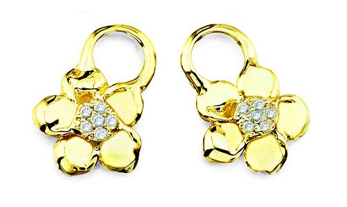Pave diamonds in flower ear charms