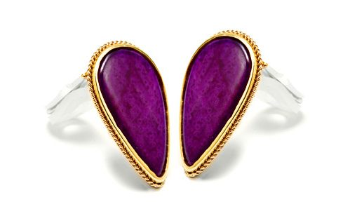 Sugalite purple pear shaped earrings in yellow gold, clip ons