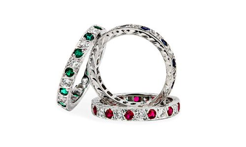 Three eternity bands, diamond and ruby, diamond and sapphire and diamond and emerald