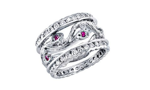White gold three ring set with diamonds and pink sappires