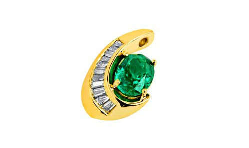 Emerald slide pendant with baguettes