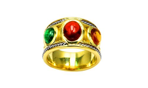 Etruscan and cabochon gems ring