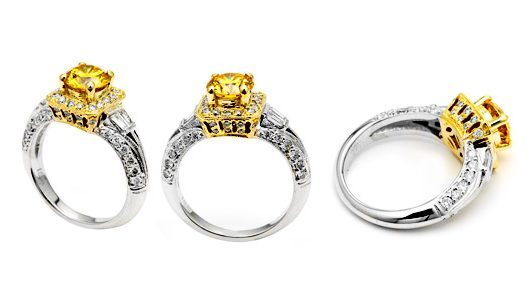 Yellow diamond ring in yellow gold with white diamonds in white gold