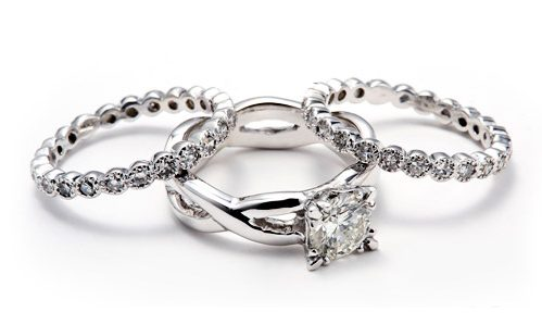 Three ring wedding set in white gold with grandmother's diamonds