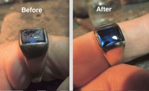 Hans Durstling Gem Repair on mans ring