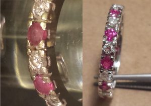 Alternating ruby and diamond ring. Before and after ruby replacement.