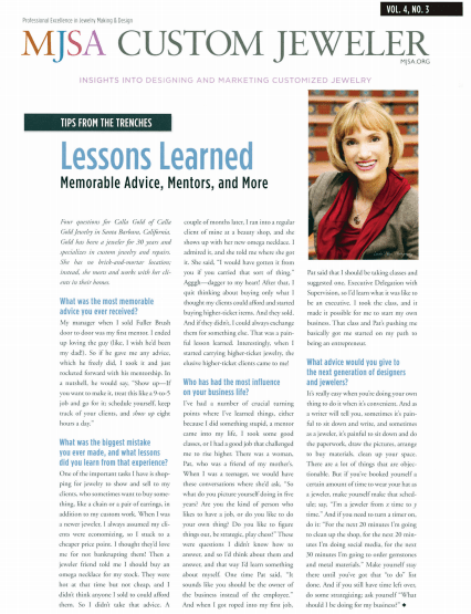 One page article with Calla Gold in MJSA Lessons Learned column