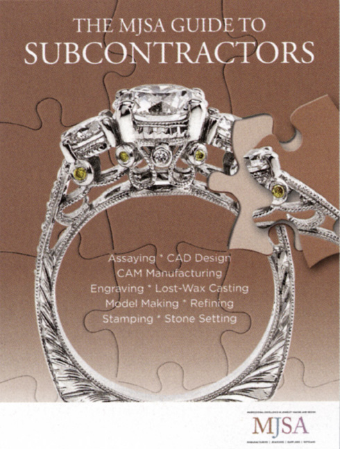 Calla Gold Jewelry designed ring on cover of MJSA guide to Subcontractors