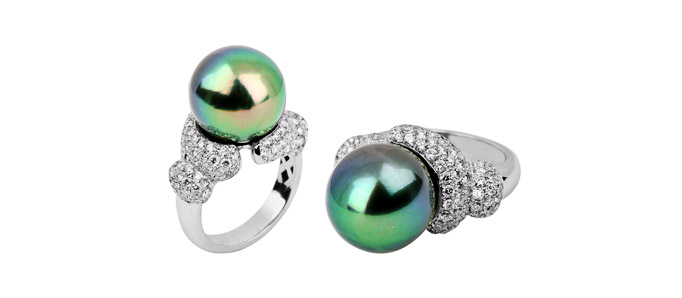White gold, pave diamonds in bubble theme with Tahitian pearl ring