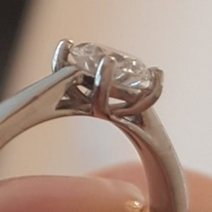 Wanting to have ring prongs lengthened she made this new ring
