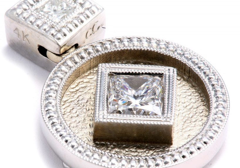White Gold Princess Cut Diamond Pendant with Milgrain Edging. Ring into pendant