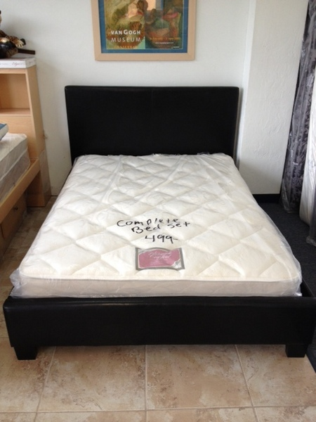 Full Size Leather Platform Bed With Mattress Only 499
