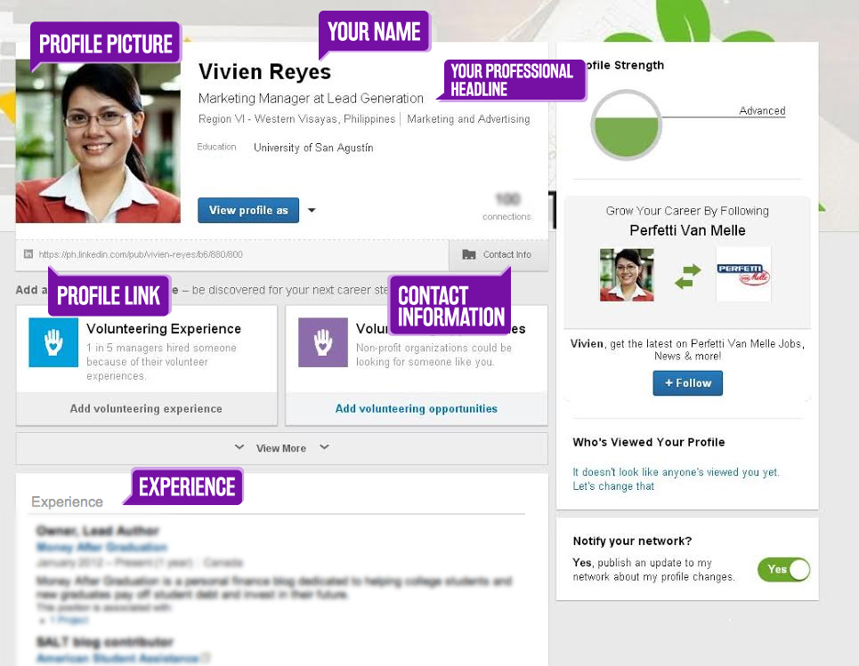 Screenshot of Optimized LinkedIn Profile
