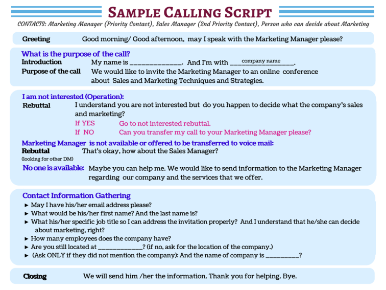 Sample Cold Calling Script