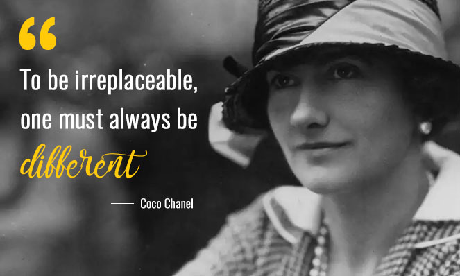 Photo of Coco Chanel with quote
