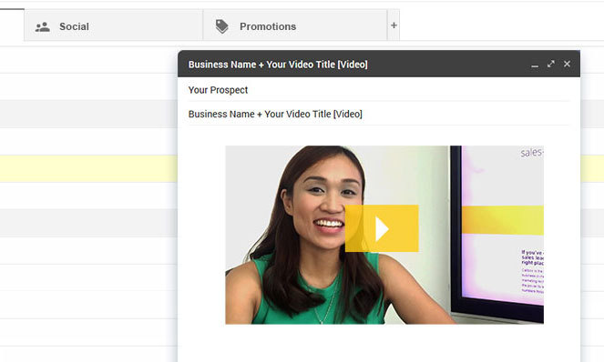 Screenshot of video embedded on email