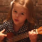 """5-year-old Ukulele Strumming Claire Ryann Sings """"A Million Dreams"""" with Her Father Dave Crosby"""