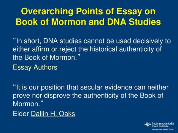 dna proof of the book of mormon