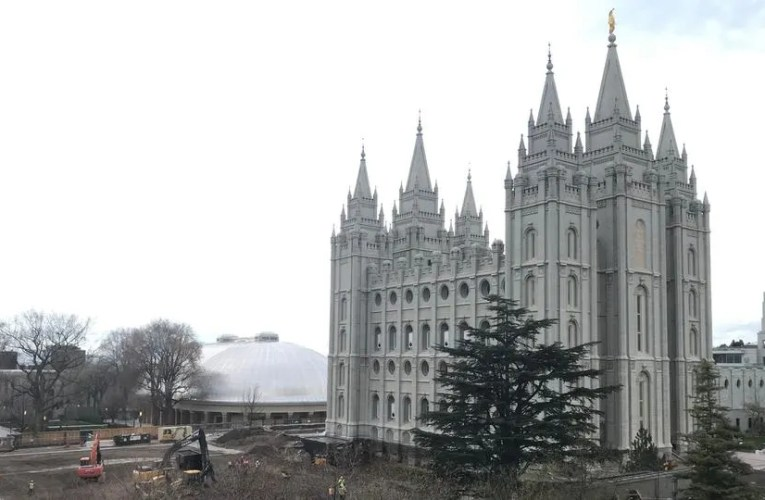 The Many Angles of Moroni's Fallen Trumpet Atop the Salt Lake Temple After Earthquake