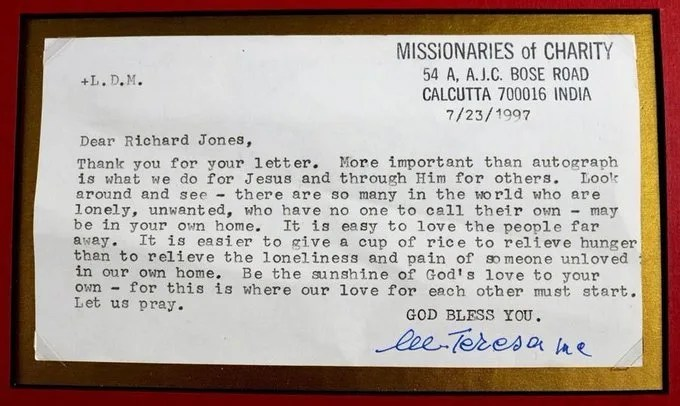 The Letter Mother Teresa Wrote to a Man When He Requested Her Autograph