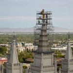 Angel Moroni Statue and Capstone Is Being Removed from Salt Lake Temple