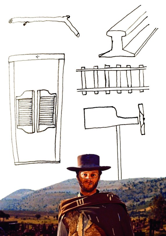Saloon doors - Drawing of the design for the saloon doors. A picture of a cowboy underneath.