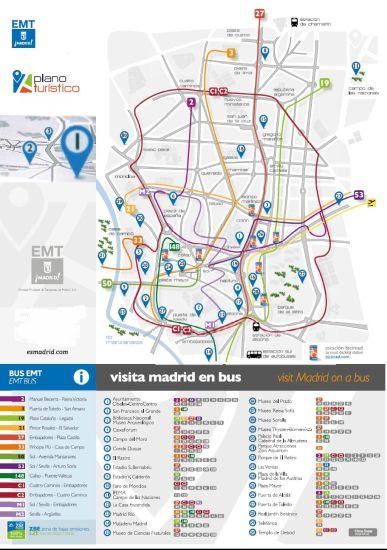 Mapa líneas buses Madrid sacado de la web www.esmadrid.com