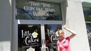 In front of a cupcake shop in Vista. . .this bakery won a Cupcake Wars tournament
