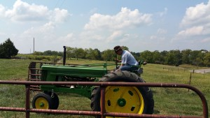 Here is John, driving our 1952 John Deere tractor into our north pasture