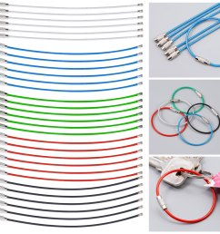 30 40x stainless steel wire keychain cable key ring chains outdoor hiking tool [ 1200 x 1200 Pixel ]