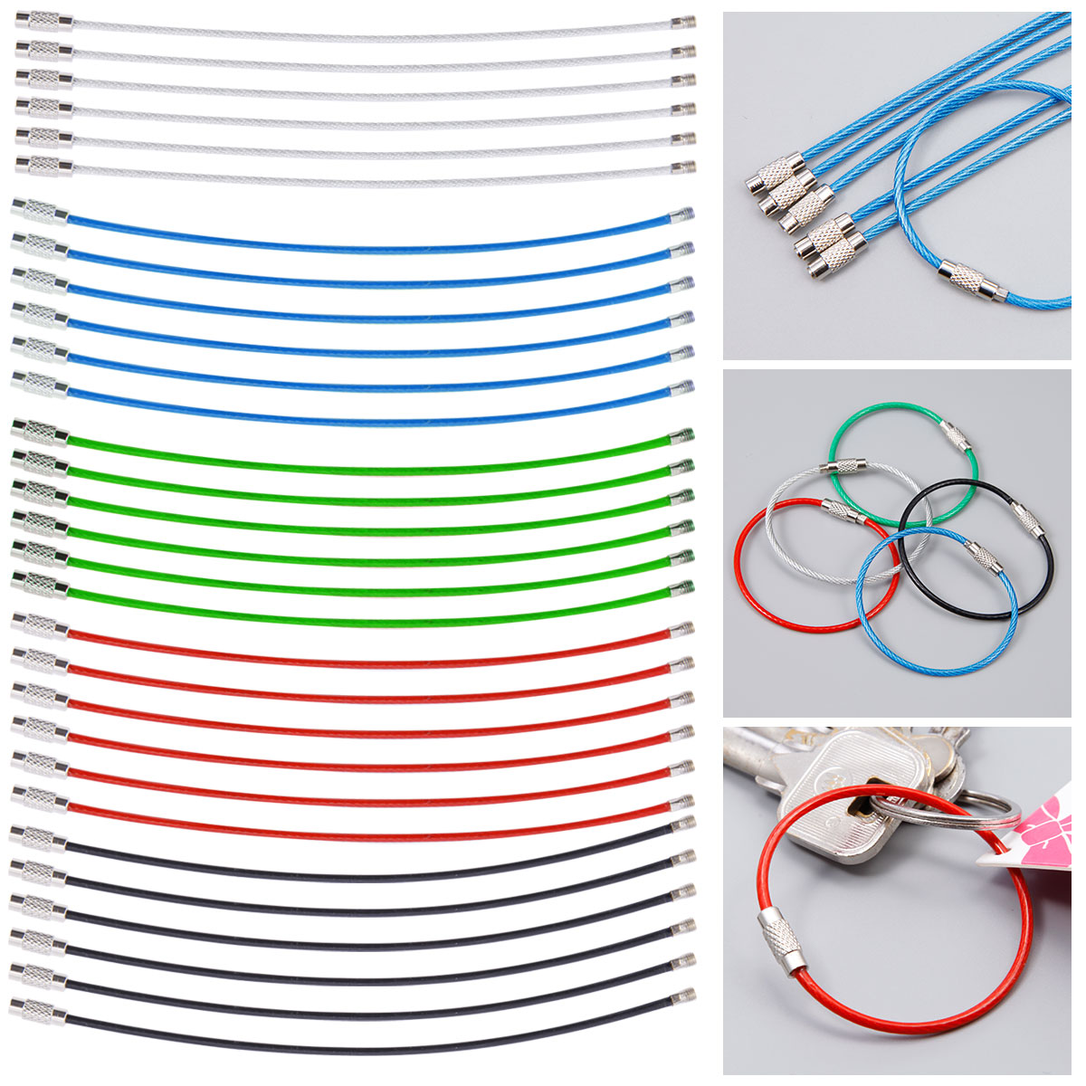 hight resolution of 30 40x stainless steel wire keychain cable key ring chains outdoor hiking tool