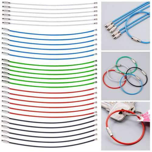 small resolution of 30 40x stainless steel wire keychain cable key ring chains outdoor hiking tool