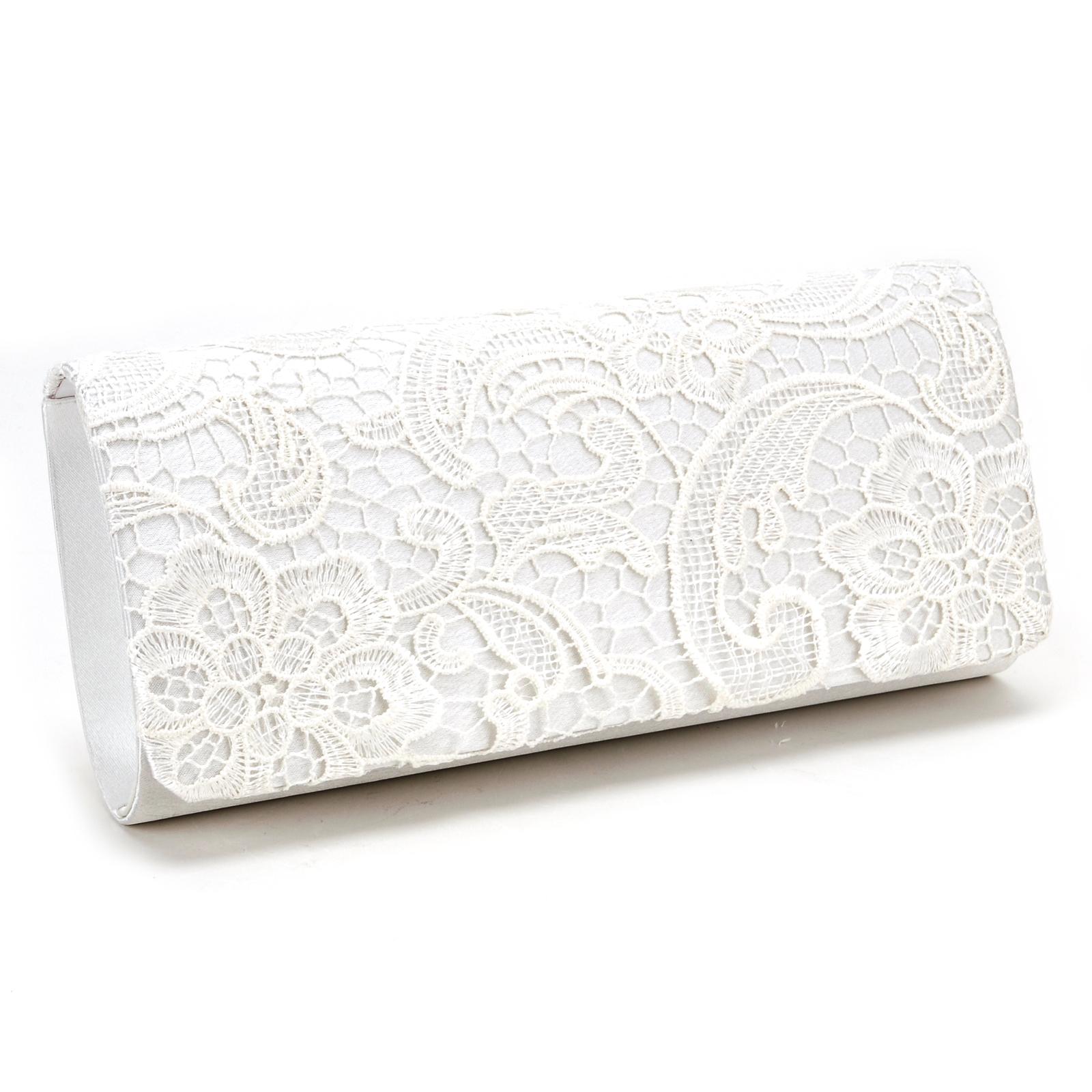 La S Lace Satin Evening Clutch Bag Envelope Handbag Prom