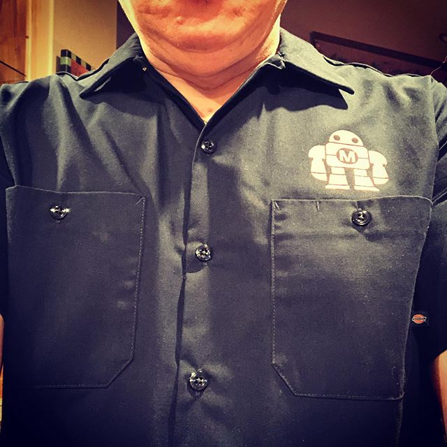 Five or six years ago, too long ago that I don't remember what year, I bought this Dickies Maker Faire work shirt to show my maker creds. I bought the largest size they had, which was just too small from the very beginning. I was never able to wear it, an