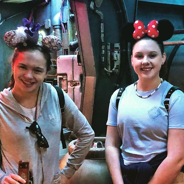 In the Lounge Area of the Millennium Falcon…McKenzie and Abbie decided to ride the ride with the old man. They were the pilots of the crew, and I, a gunner.