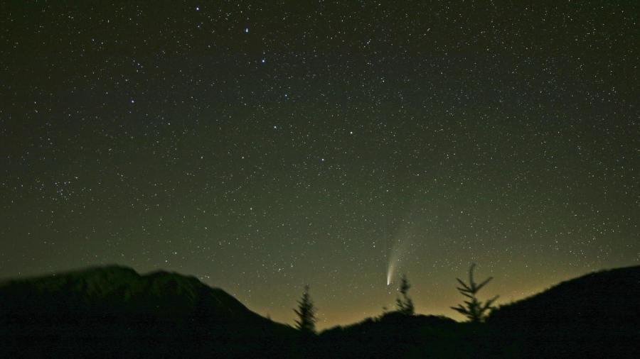 The Big Dipper Pouring NEOWISE onto the slopes of Mt. St. Helens