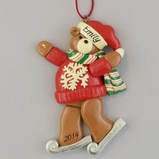Ice Skater Bear Personalized Christmas Ornaments