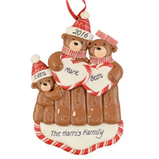 couple with one baby personalized christmas ornaments