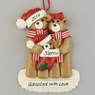 Adopted with Love Bear Family Personalized christmas Ornaments