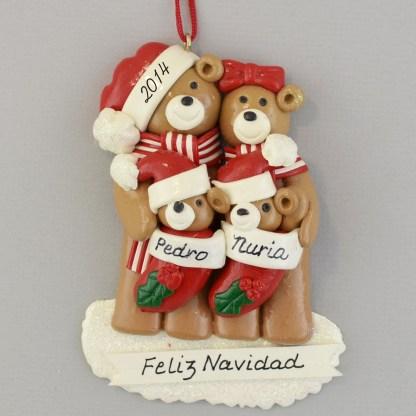 Bear Family (4) Feliz Navidad personalized christmas Ornaments