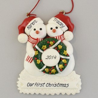 Snowmen Holding Wreath Partners personalized christmas Ornaments