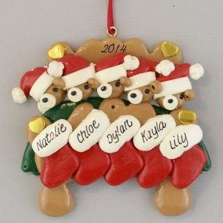 Bear Family (5) in Bed Personalized Christmas Ornaments