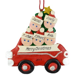 Family in Car (5) personalized christmas Ornaments