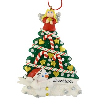 tree with angel and snowman christmas ornament