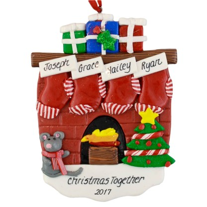 Fireplace (4) Stockings personalized christmas ornaments