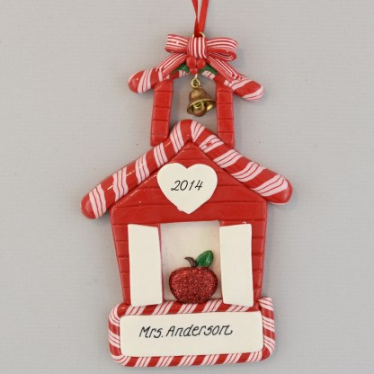 Little Red Schoolhouse Perosnalized christsmas Ornaments