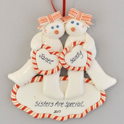 Sisters, Best Friends, twins personalized christmas ornaments