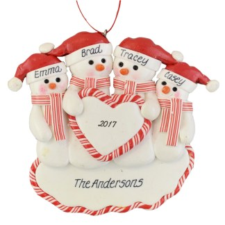 Family of Snowmen (4) Heart personalized christmas ornaments