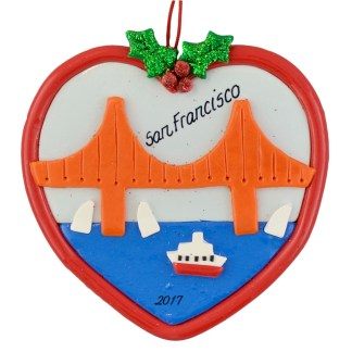 San Francisco Golden Gate Bridge personalized christmas ornaments
