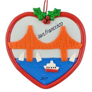 San Francisco Golden Gate Bridge personalized christmas ornaments